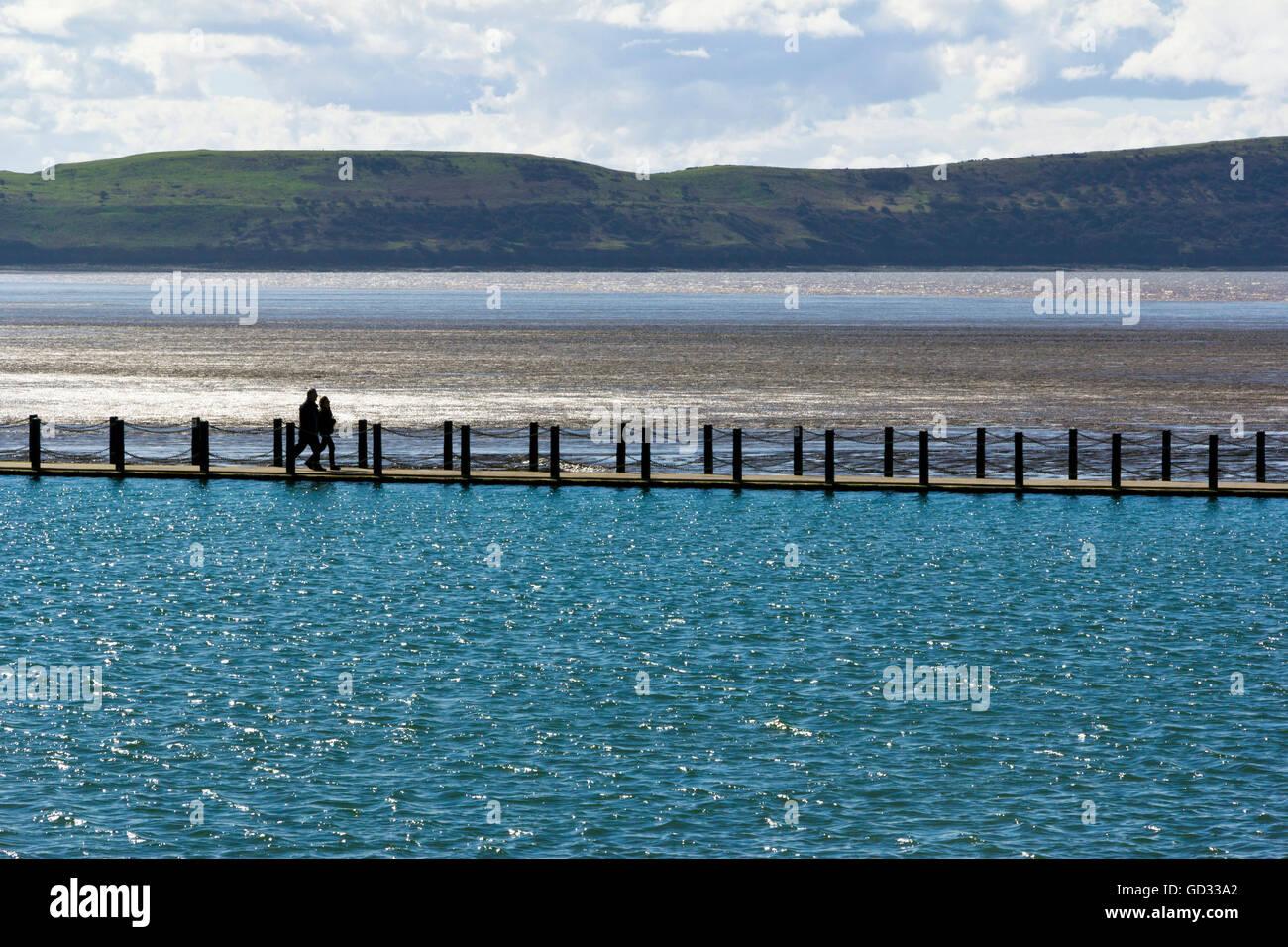 Marine Lake causeway, Weston-Super-Mare, Somerset, UK - Stock Image