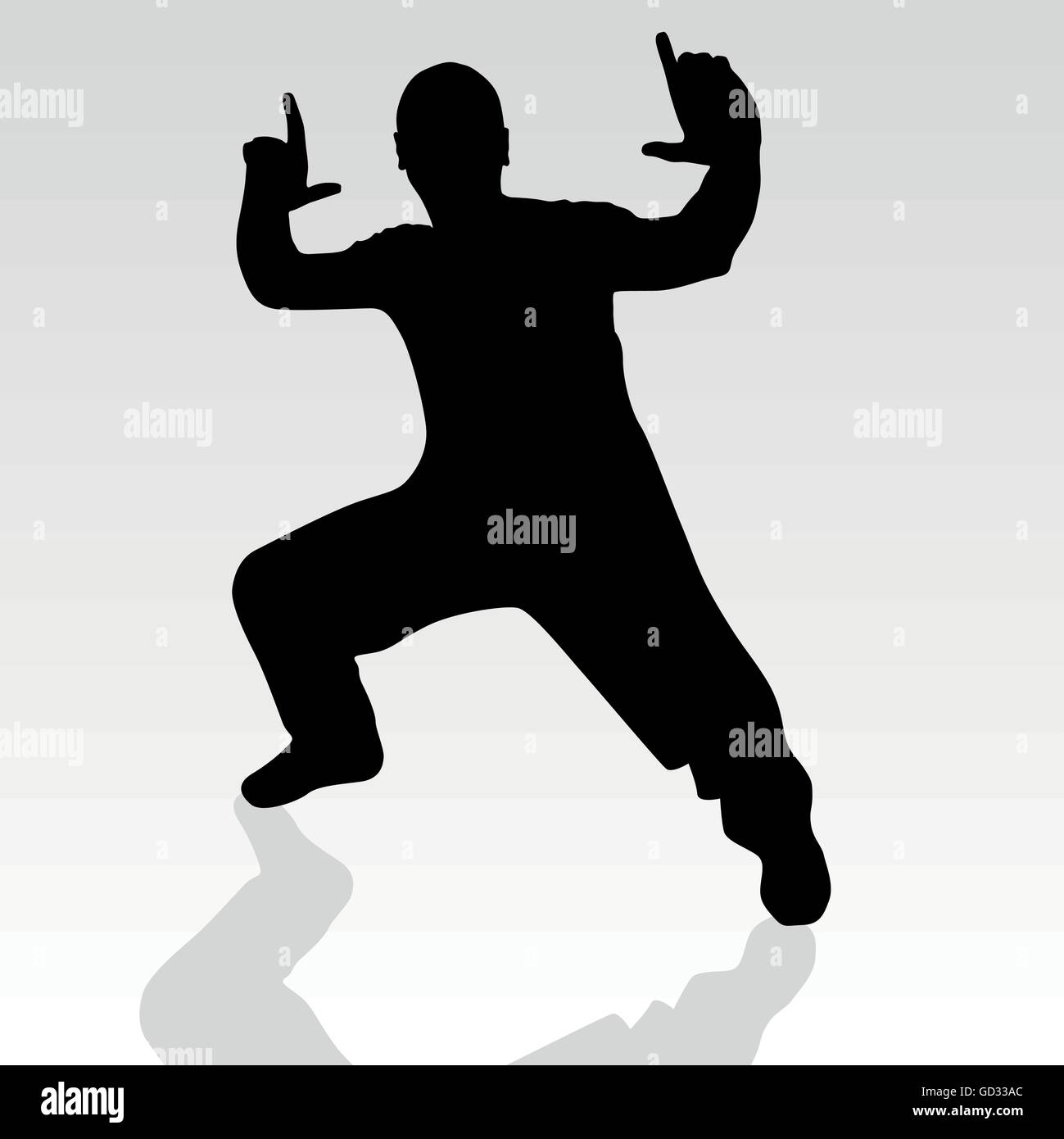fighter pose one silhouette vector with shadow - Stock Vector