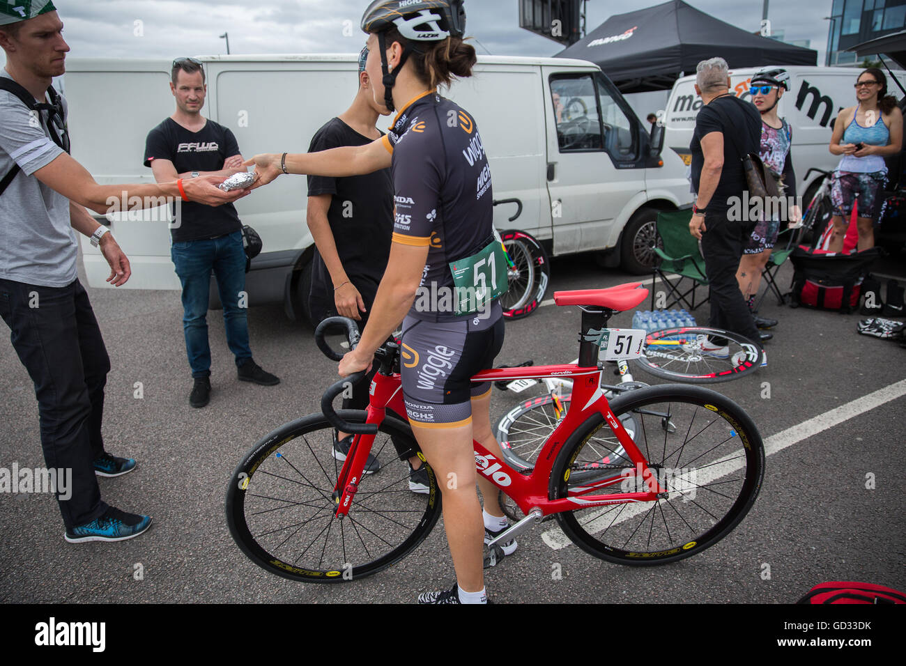 09 July 2016 Dani King Woman British Cyclist Olympian at the Red Hook Criterium in London Greenwich Peninsula Cervelo Stock Photo