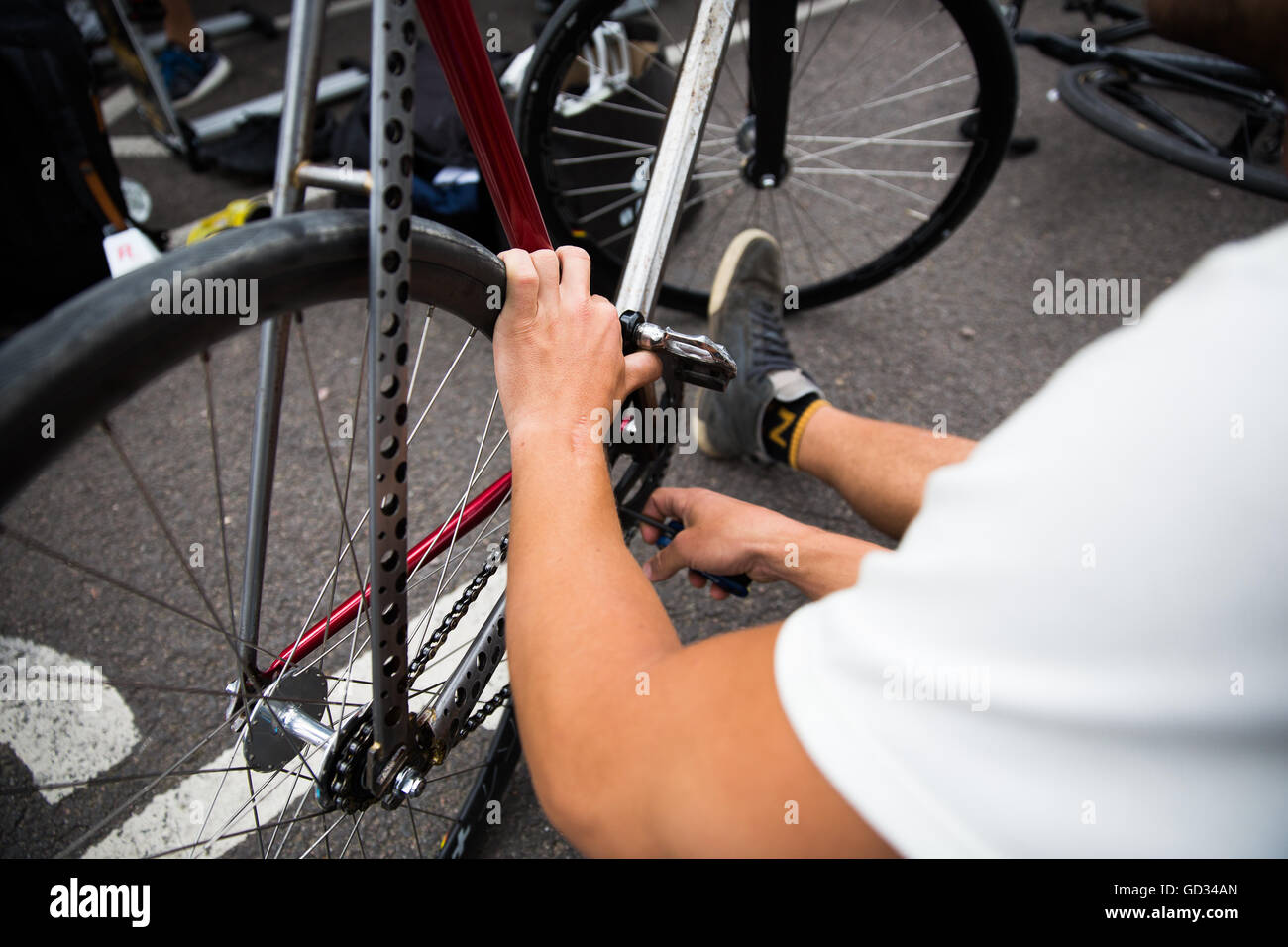 A custom made bicycle frame spotted at the Red Hook Criterium in London Greenwich Peninsula 2016 Cycling Crit - Stock Image