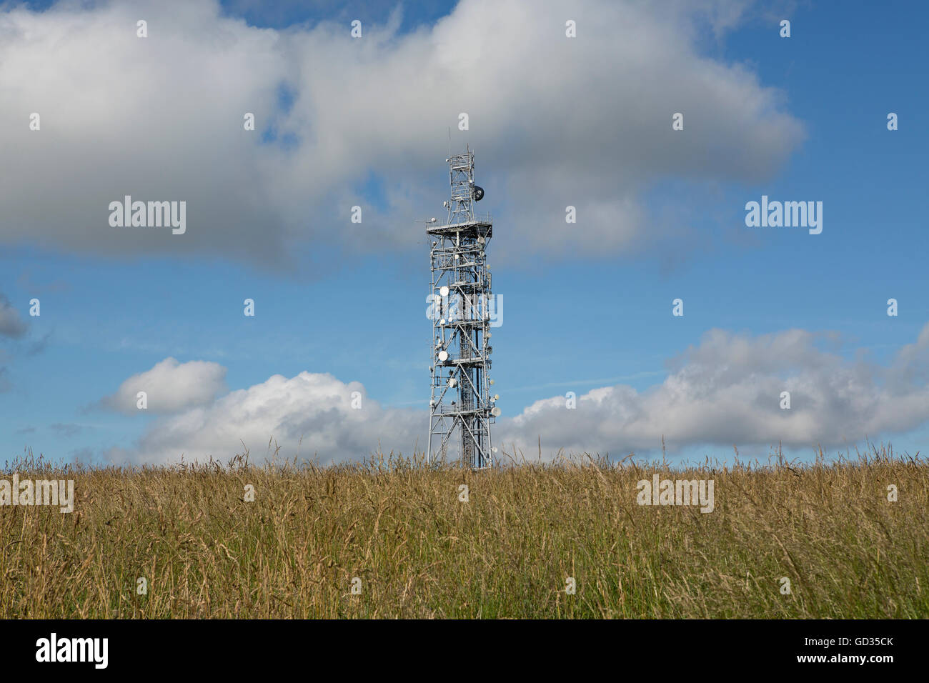 Radio mast on top of a hill in Hampshire England. Tall communication tower brim full of radio devices. Long mixed Stock Photo