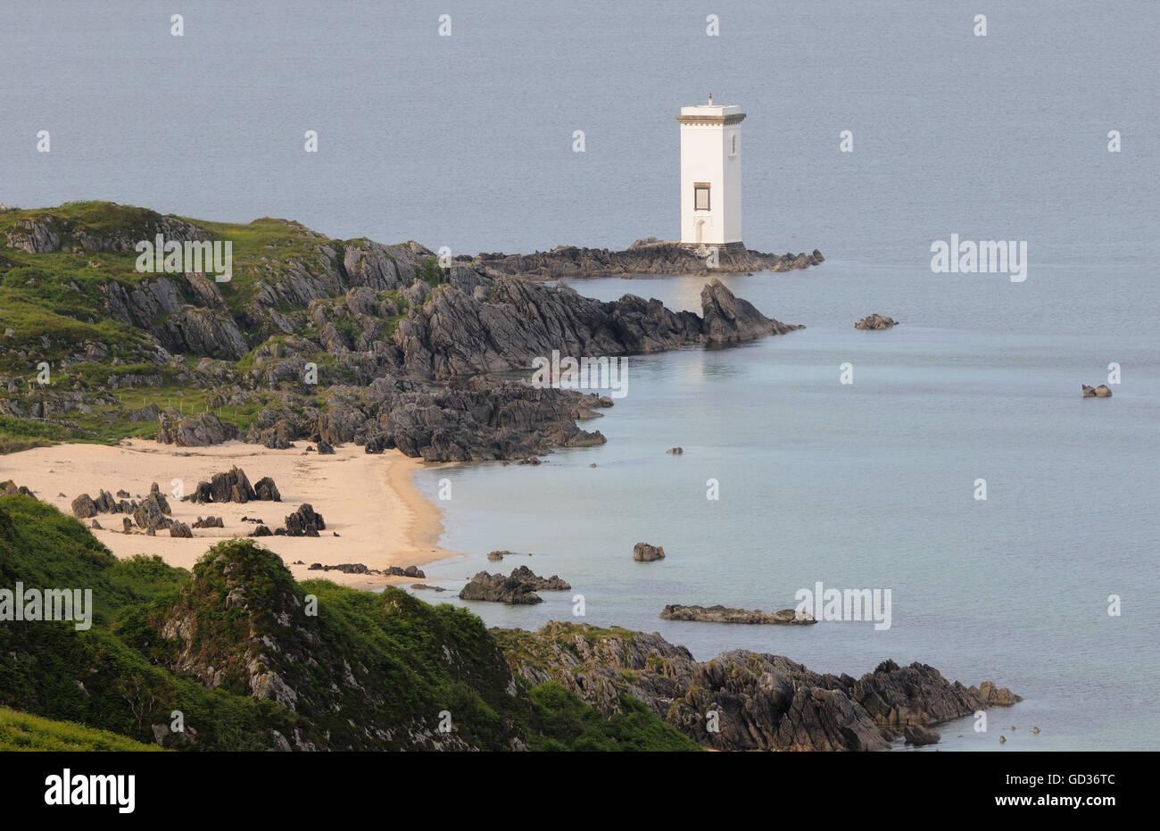 Lighthouse at Carraig Fhada, Port Ellen, Port Eilein, Islay, Inner Hebrides, Argyll, Scotland, UK. - Stock Image