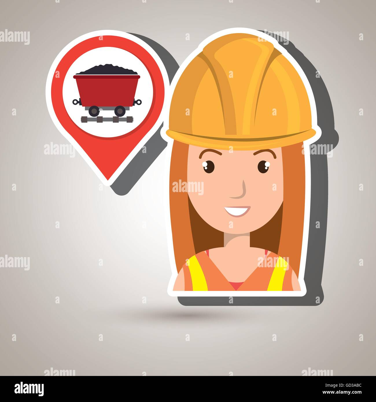 woman and mining isolated icon design - Stock Image