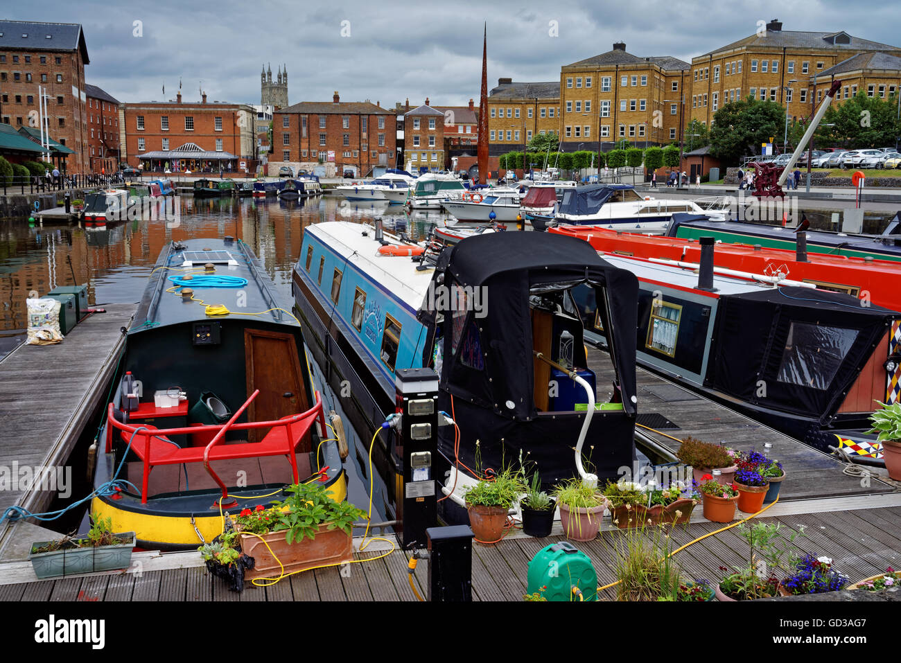 UK,Gloucestershire,Gloucester Docks,Canal Barges Moored in Victoria Basin - Stock Image