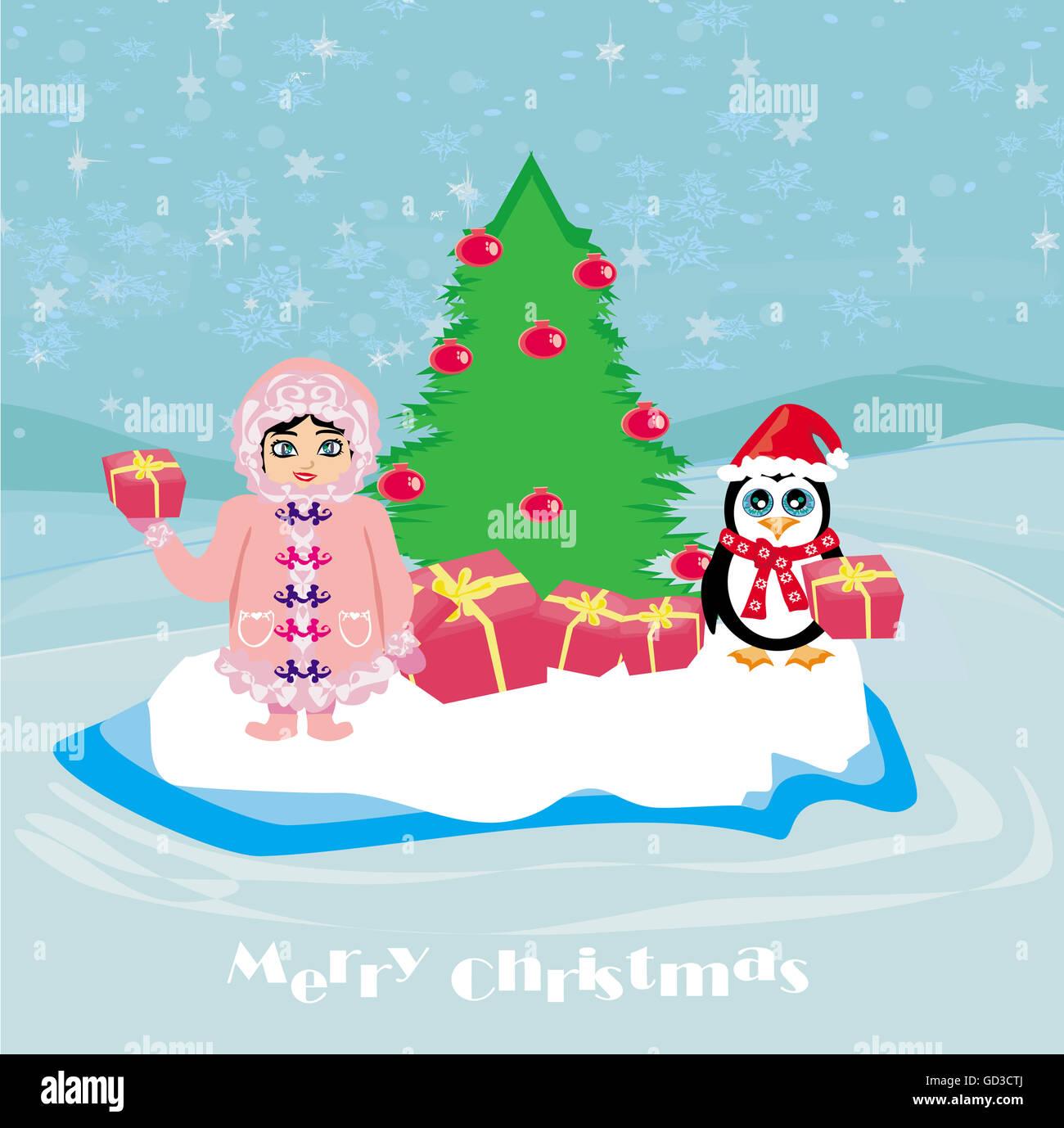 Funny Christmas Card Penguin Small Stock Photos Funny Christmas