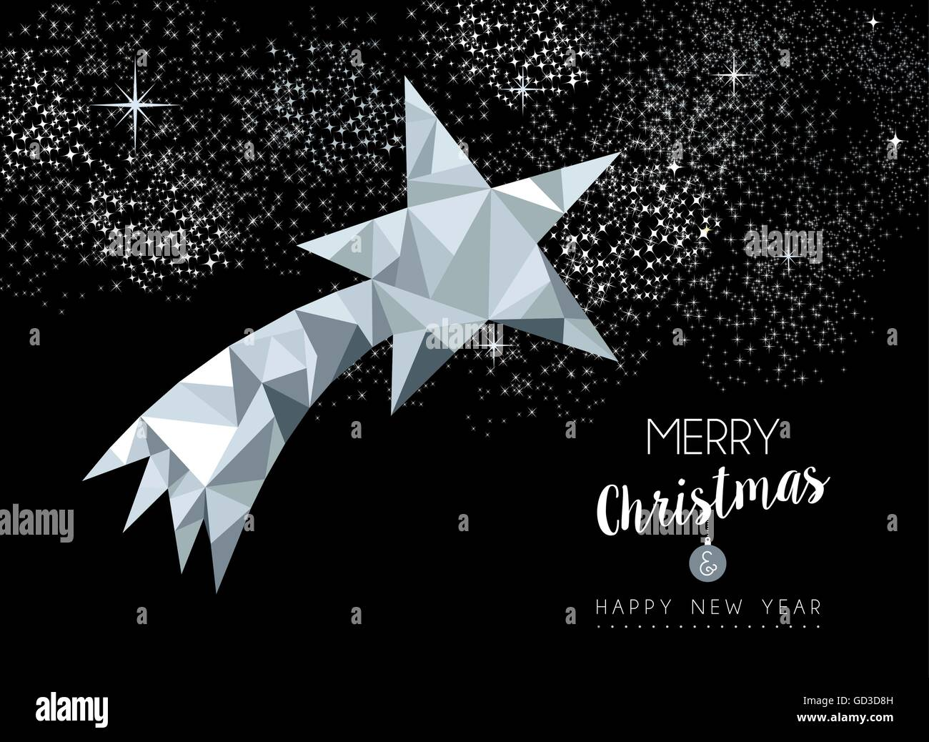 Merry christmas and happy new year fancy silver shooting star in low poly style. - Stock Image