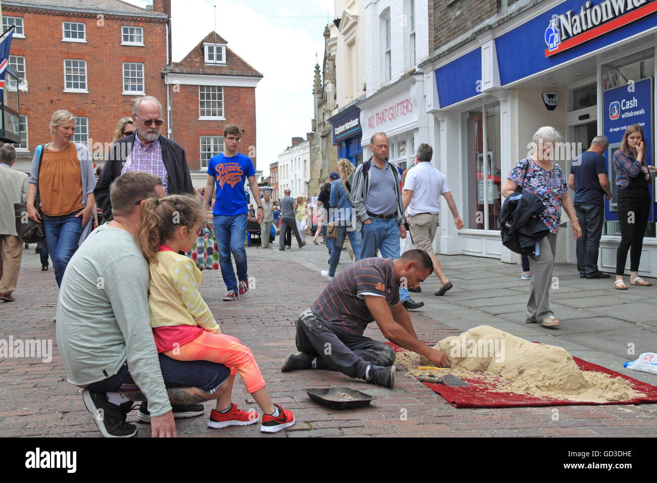 Sand sculptor, North Street, Chichester, West Sussex, England, Great Britain, United Kingdom, UK, Europe - Stock Image