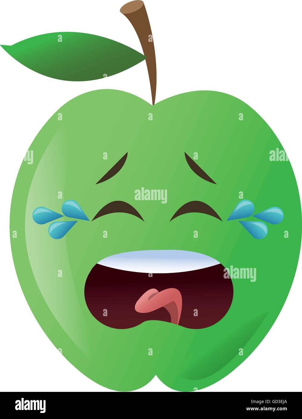 0c979a3483191 crying apple cartoon icon Stock Vector Art   Illustration