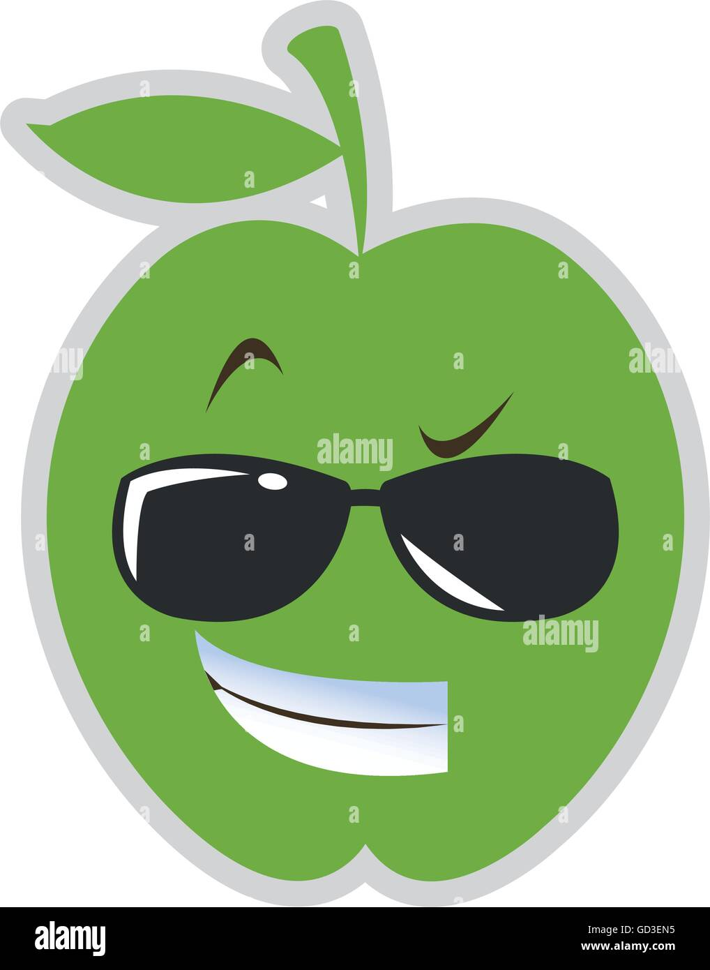 38934cbdfab60 cool sunglasses apple cartoon icon Stock Vector Art   Illustration ...