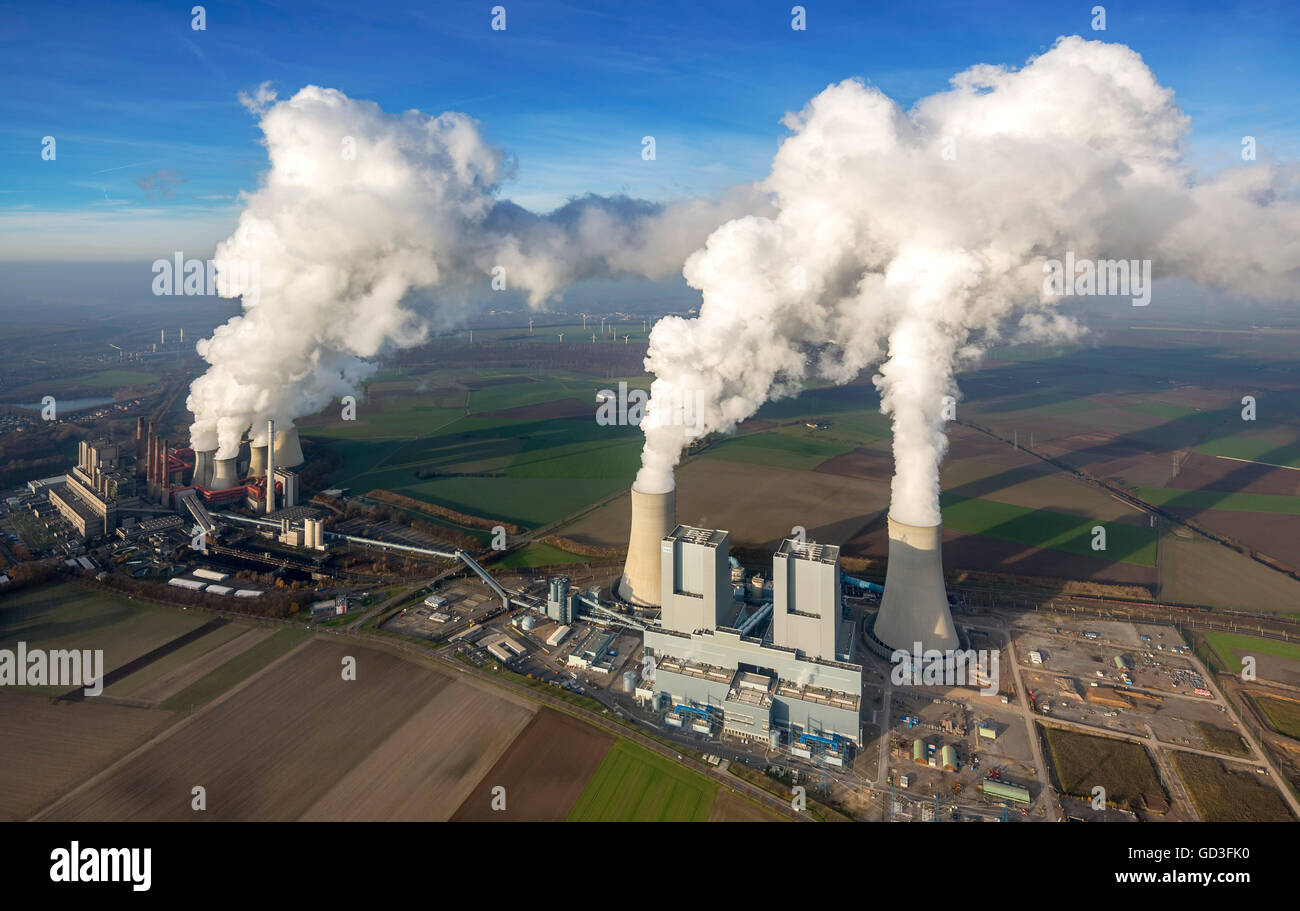 Aerial view, brown coal power plant, smoke, steam, power, aerial view of Grevenbroich, Lower Rhine, North Rhine - Stock Image