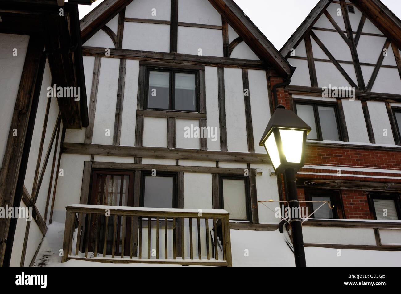 Houses in Tudor style, Pickering Village, Ajax, Ontario, Canada - Stock Image