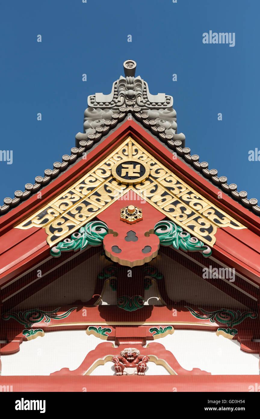 Gable and roof detail at the Senso-ji Temple, Asakusa, Tokyo, Japan - Stock Image