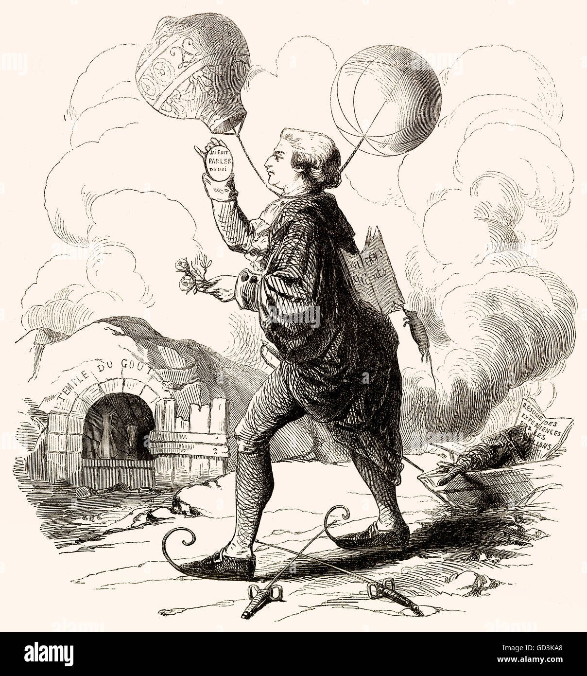 Balloonomania, cartoon in France in the late 18th century - Stock Image