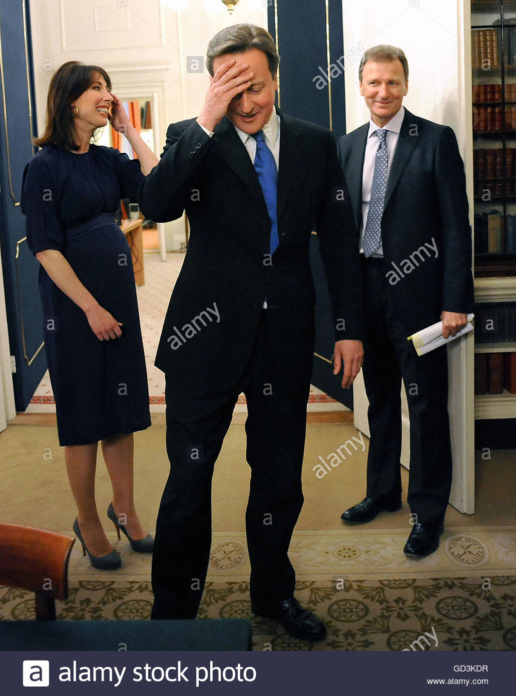 File photo dated 11/05/10 of Minister David Cameron and his wife Samantha meet Cabinet Secretary Gus O'Donnell in Stock Photo