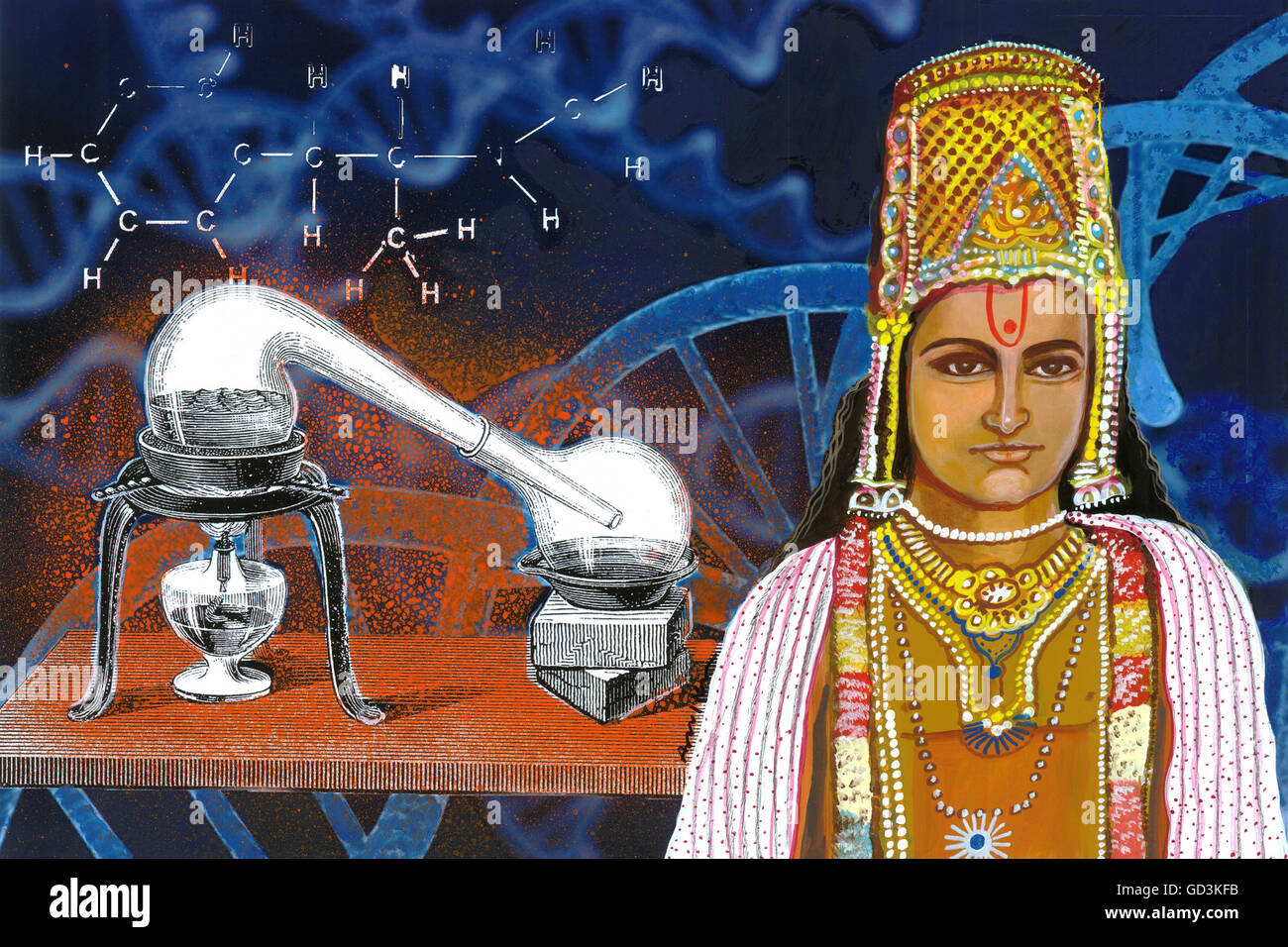Nagarjuna 100 ce wizard of chemical science painting, india, asia - Stock Image