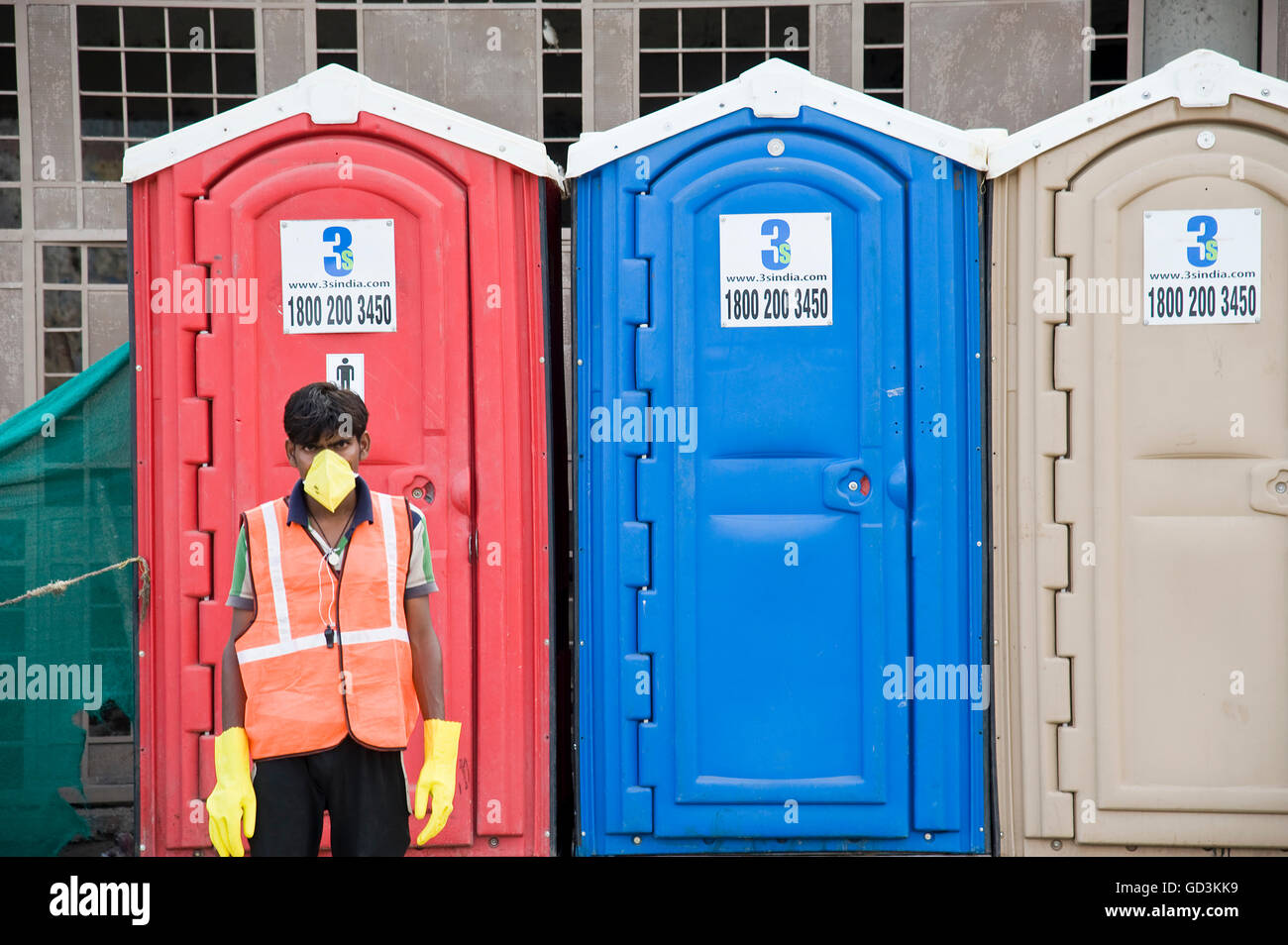 Temporary portable toilets, Nasik, maharashtra, india, asia - Stock Image