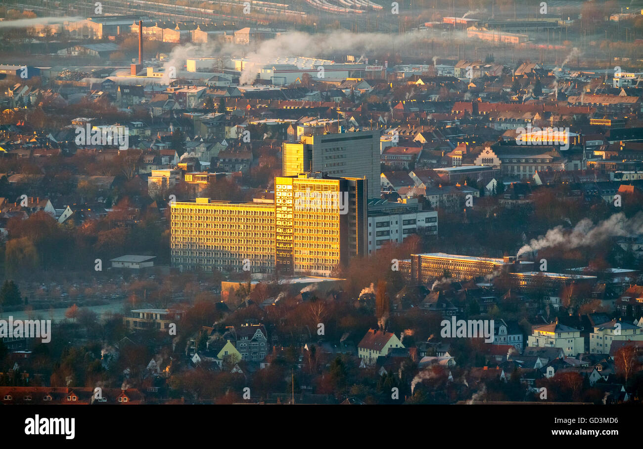 Aerial view, OLG, Higher Regional Court in the morning sun, downtown at sunrise, sunrise over Hamm, Aerial view - Stock Image