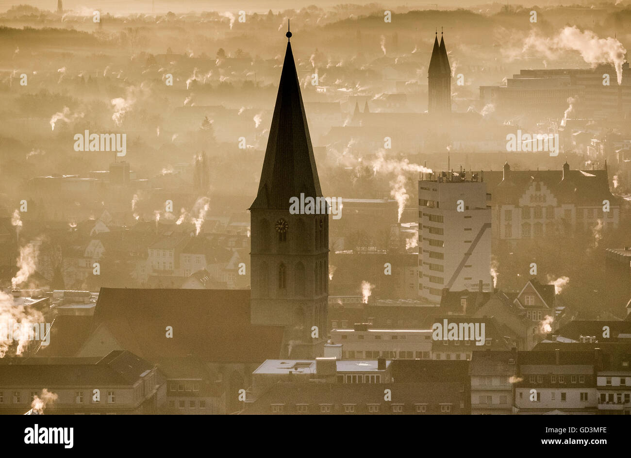 Aerial view, looking at the awakening Hamm in backlight on the Paulus Church, Sunrise over Hamm, Rachfahnen the - Stock Image
