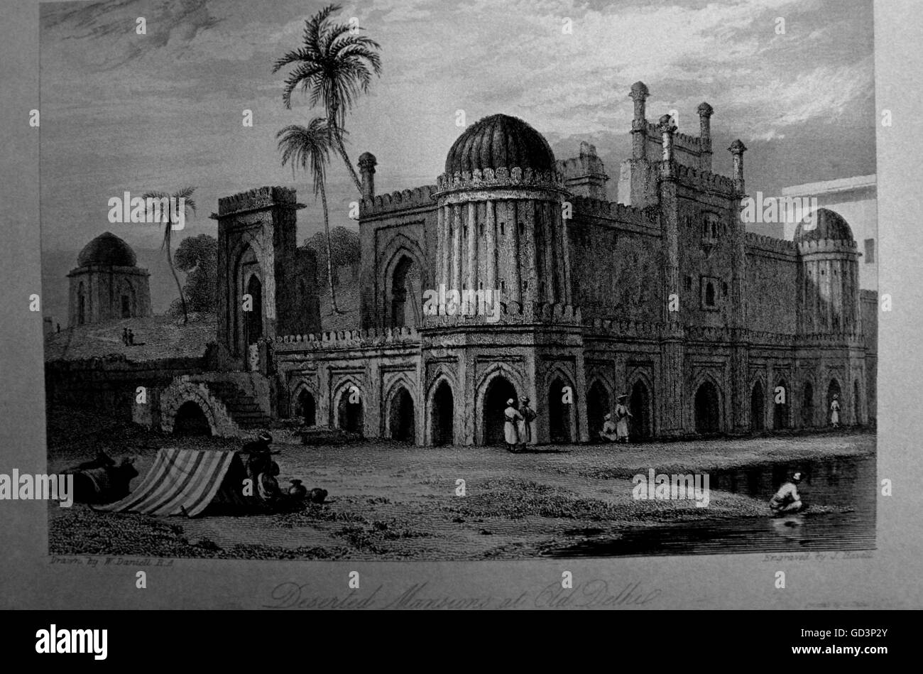 Lithograph of deserted mansions - Stock Image