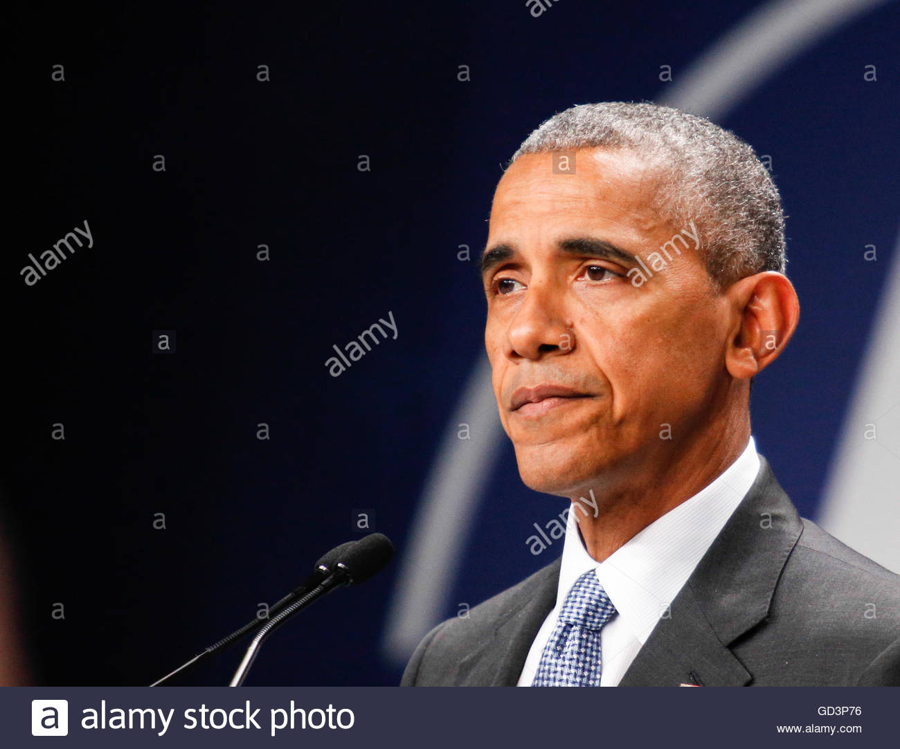 Warszawa,Poland. July 9th, 2016. POLAND, Warsaw: US President Barack Obama addresses the press on NATO summit on - Stock Image