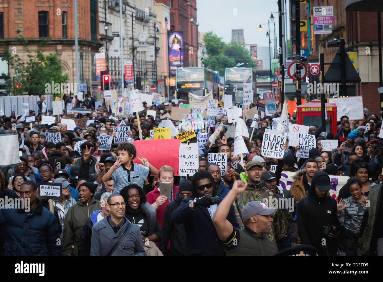 Manchester, UK. 11th July, 2016. Thosands of protesters march through Manchester in support for Black Lives Matter. - Stock Image