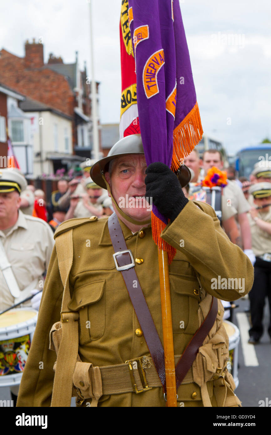 Southport, Merseyside, UK  12th July, 2016.  Old Soldier at Southport Orangemen's day marching through the streets - Stock Image