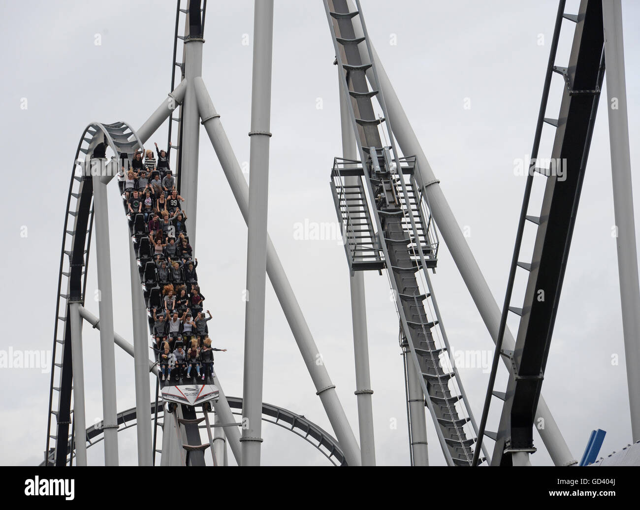 Rust, Germany. 12th July, 2016. The rollercoaster 'Silverstar' at the Europa-Park in Rust, Germany, 12 July - Stock Image