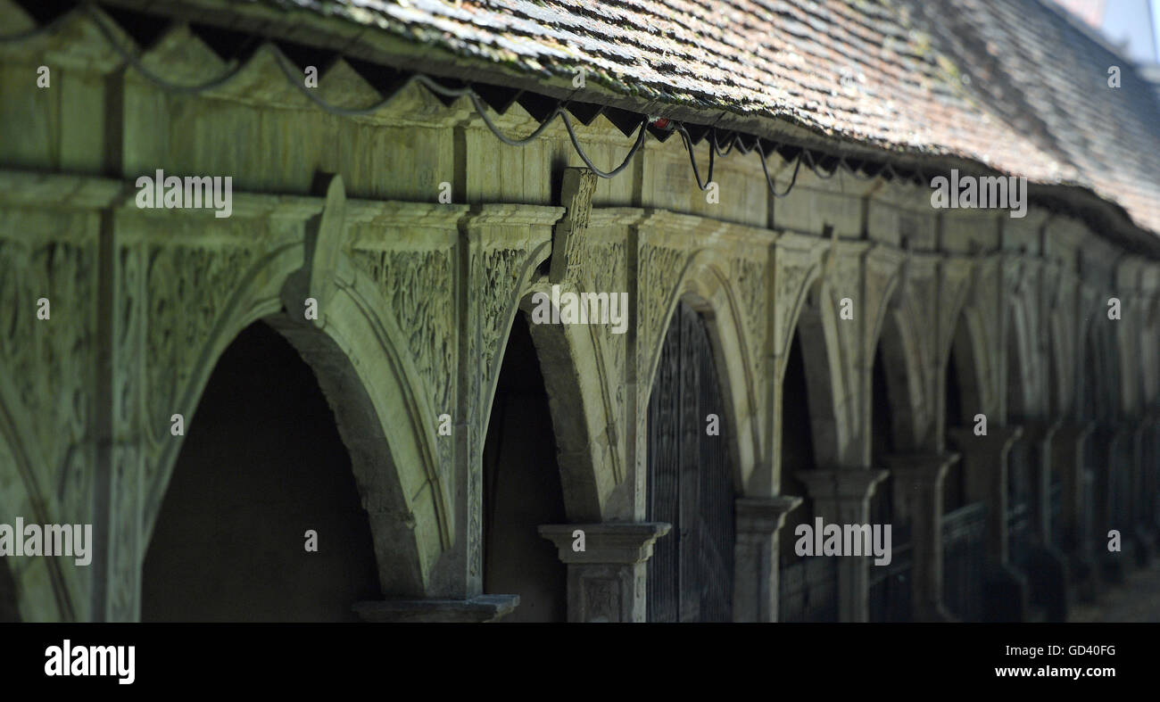 Sunlight shining on the arcade arches at Stadtgottesacker in Halle/Saale, Germany, 12 July 2016. The restoration Stock Photo