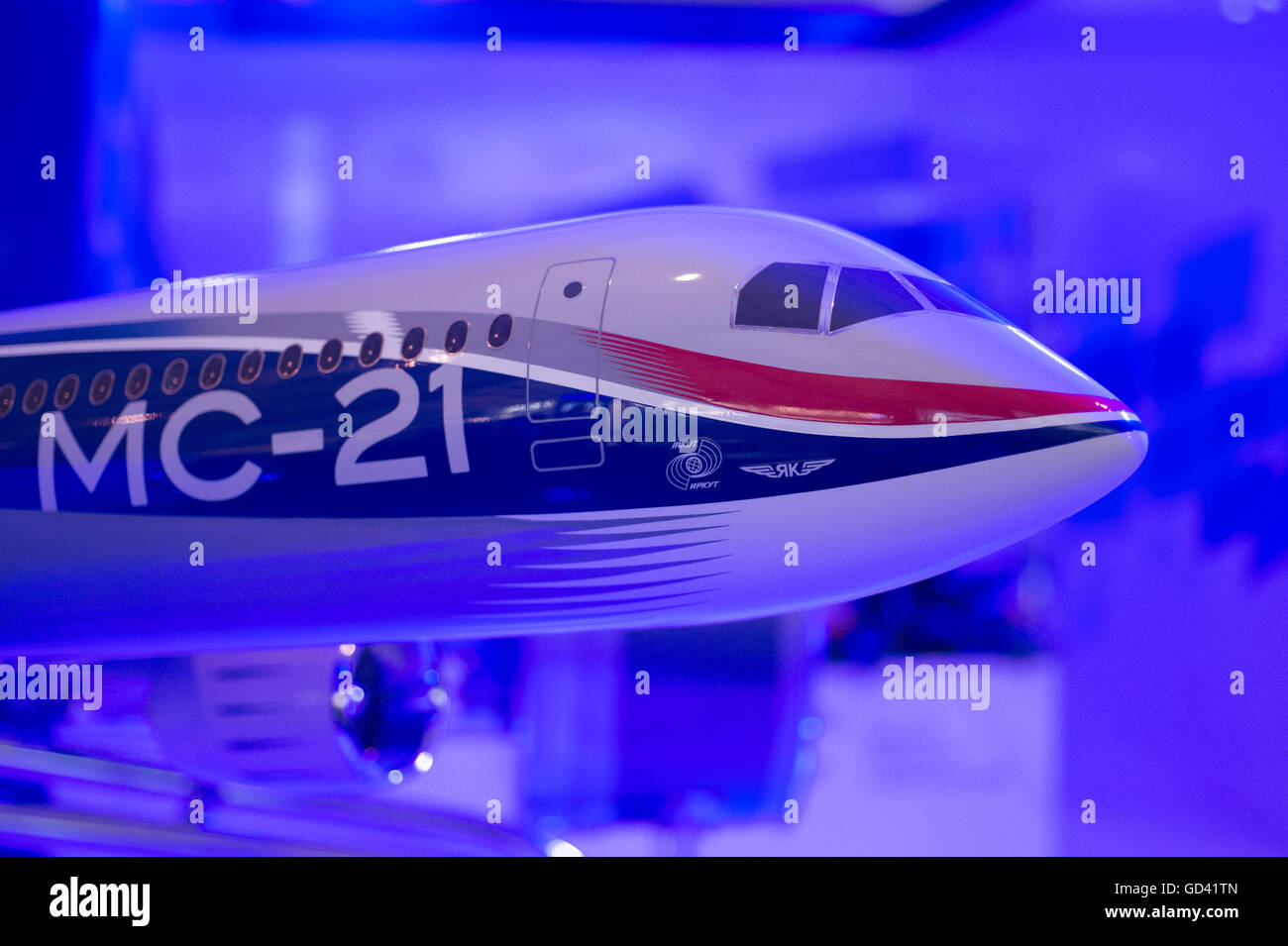 Farnborough, Hampshire UK. 12th July 2016. Russian Irkut MC-21 model on the UAC stand at the Farnborough International - Stock Image