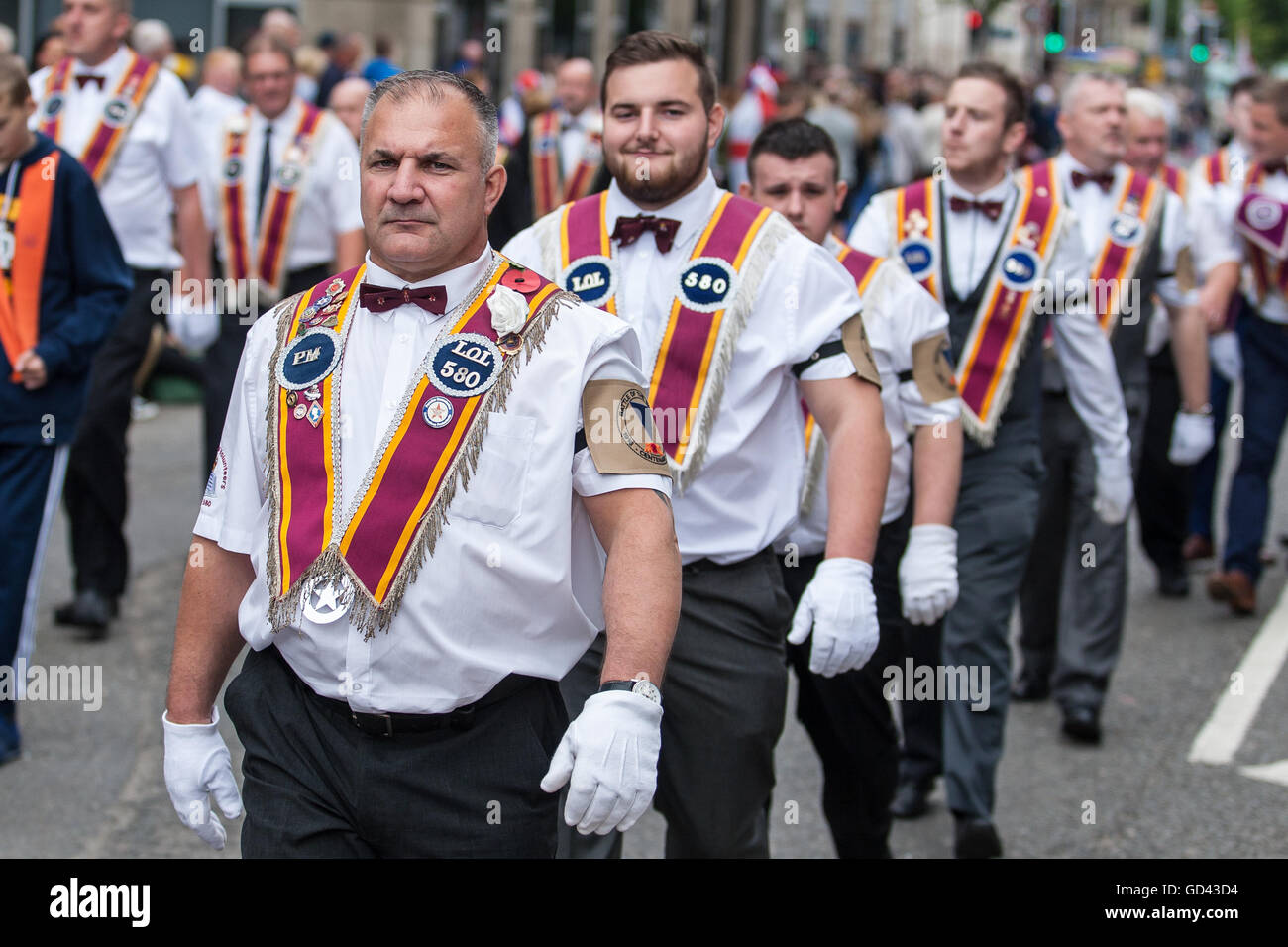 Belfast, UK. 12th July 2016. Orangemen celebrate the Twelfth. It originated during the late 18th century in Ulster. - Stock Image