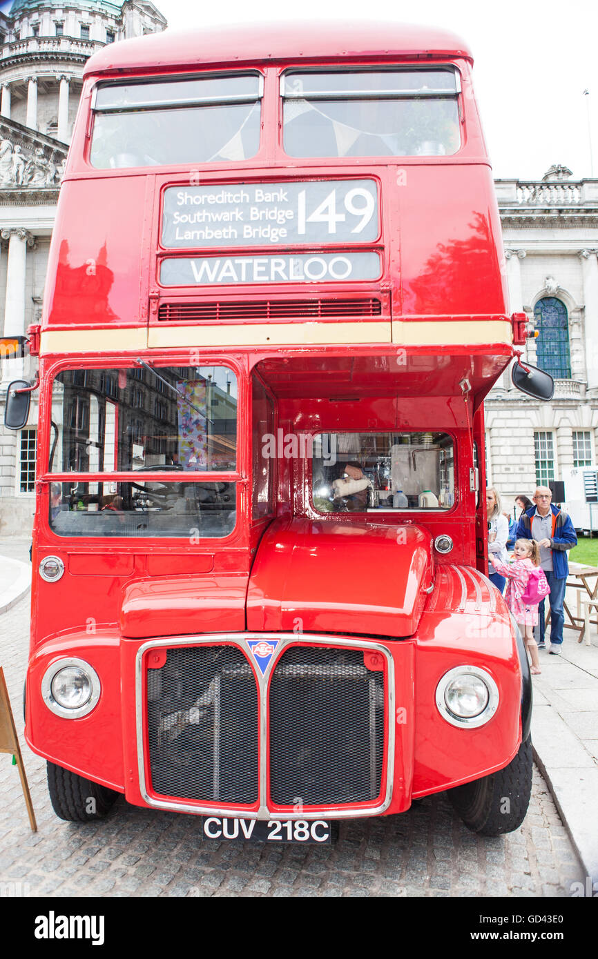 Belfast, UK. 12th July 2016.  the front of a Red London double decker bus in the grounds of Belfast City hall for Stock Photo
