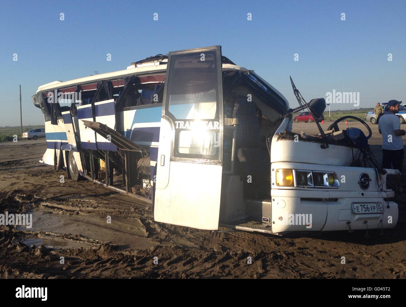 Dagestan, Russia. 13th July, 2016. At the site of a collision of a passenger bus and a KAMAZ truck on the Makhachkala - Stock Image