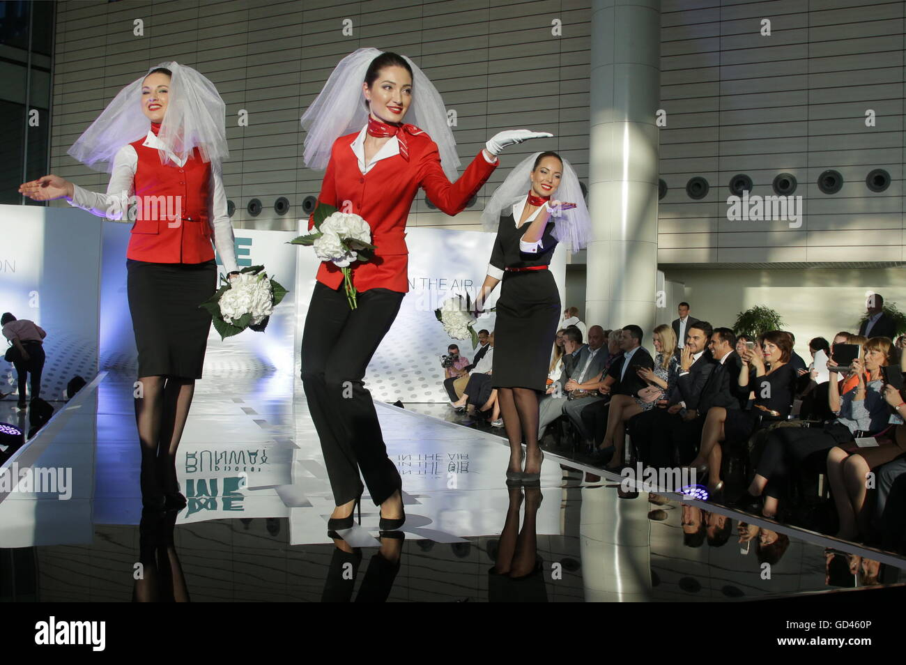 Moscow Region, Russia. 12th July, 2016. Rusline employees showcase clothes during the 2016 DME Runway fashion show - Stock Image