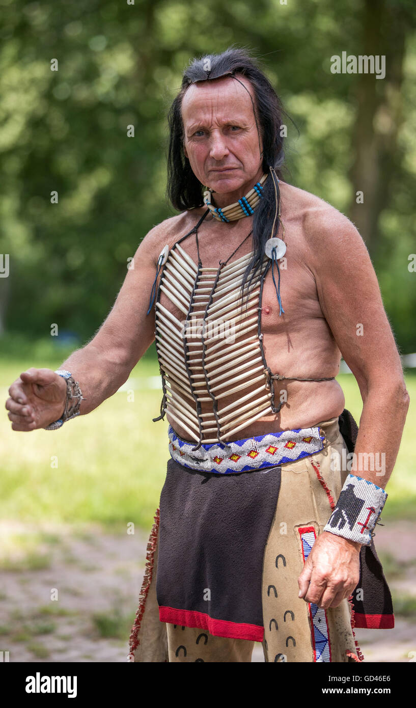 65-year-old vocational Native American and stuntman Wolfgang Kring during a training for the 25th Apache live show - Stock Image