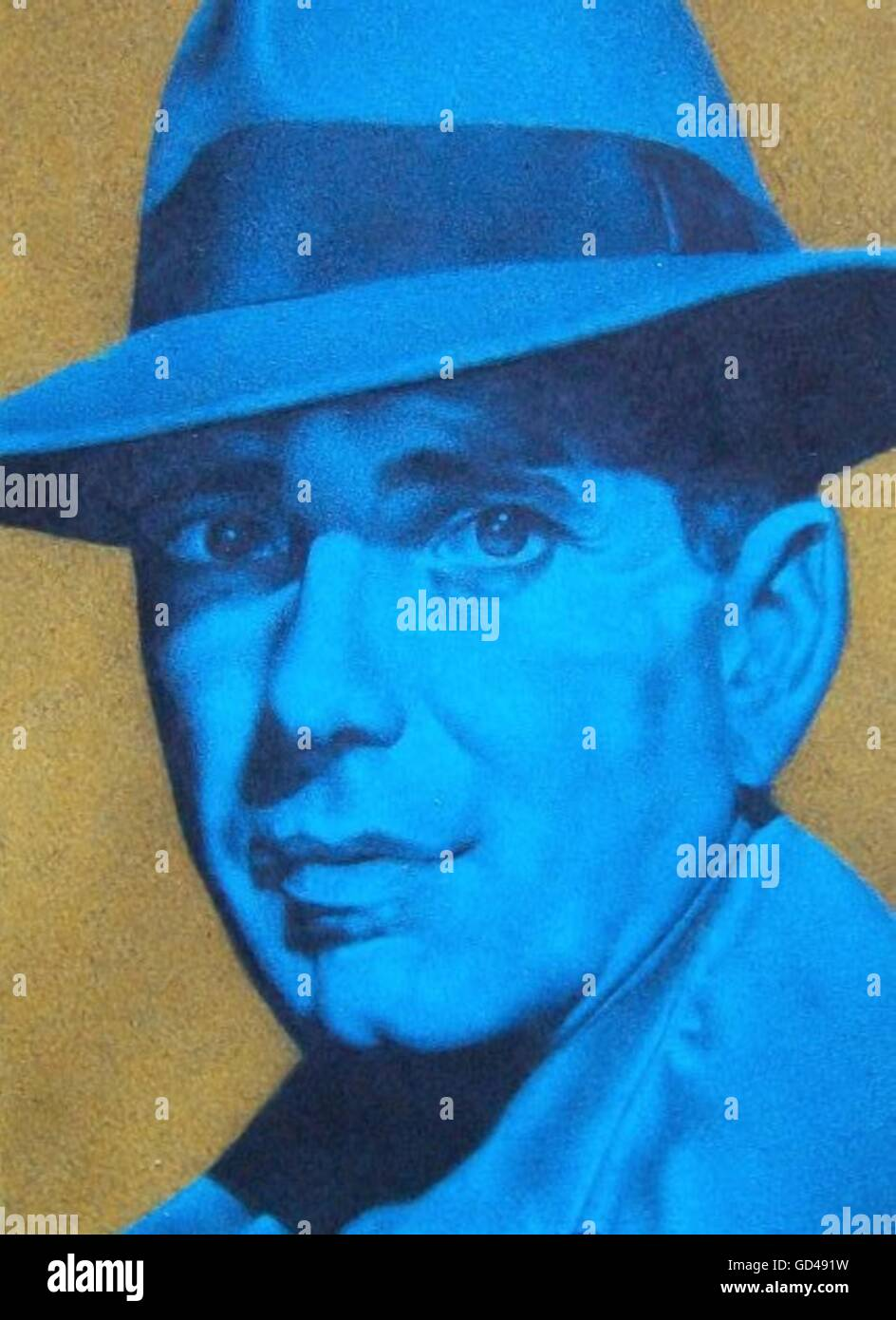 Retro styled blue portrait of man in hat, yellow background - Stock Image