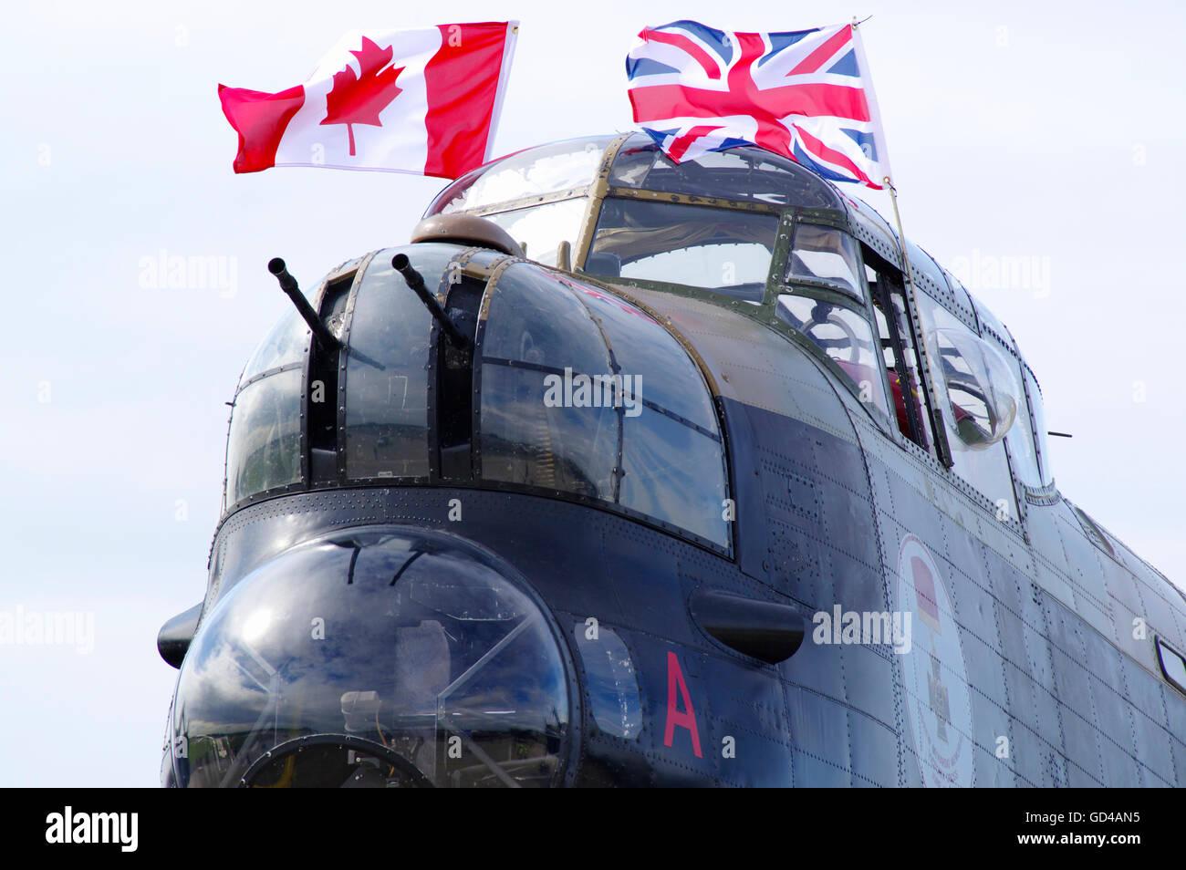 Canadian Warplane Heritage Avro Lancaster at RAF Waddington, - Stock Image