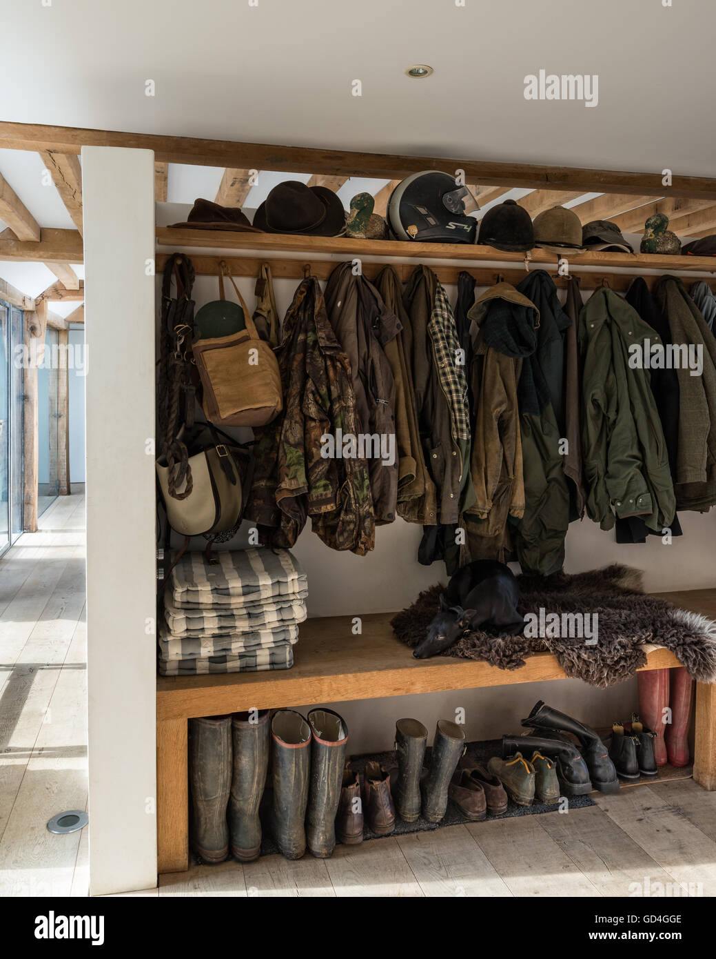 Coat and boot storage Stock Photo - Alamy