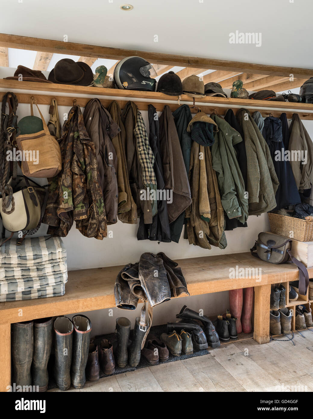Coat and boot storage - Stock Image