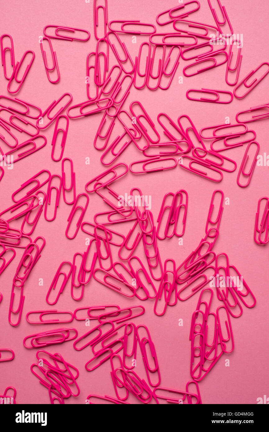 Close-up of pink paper clips - Stock Image