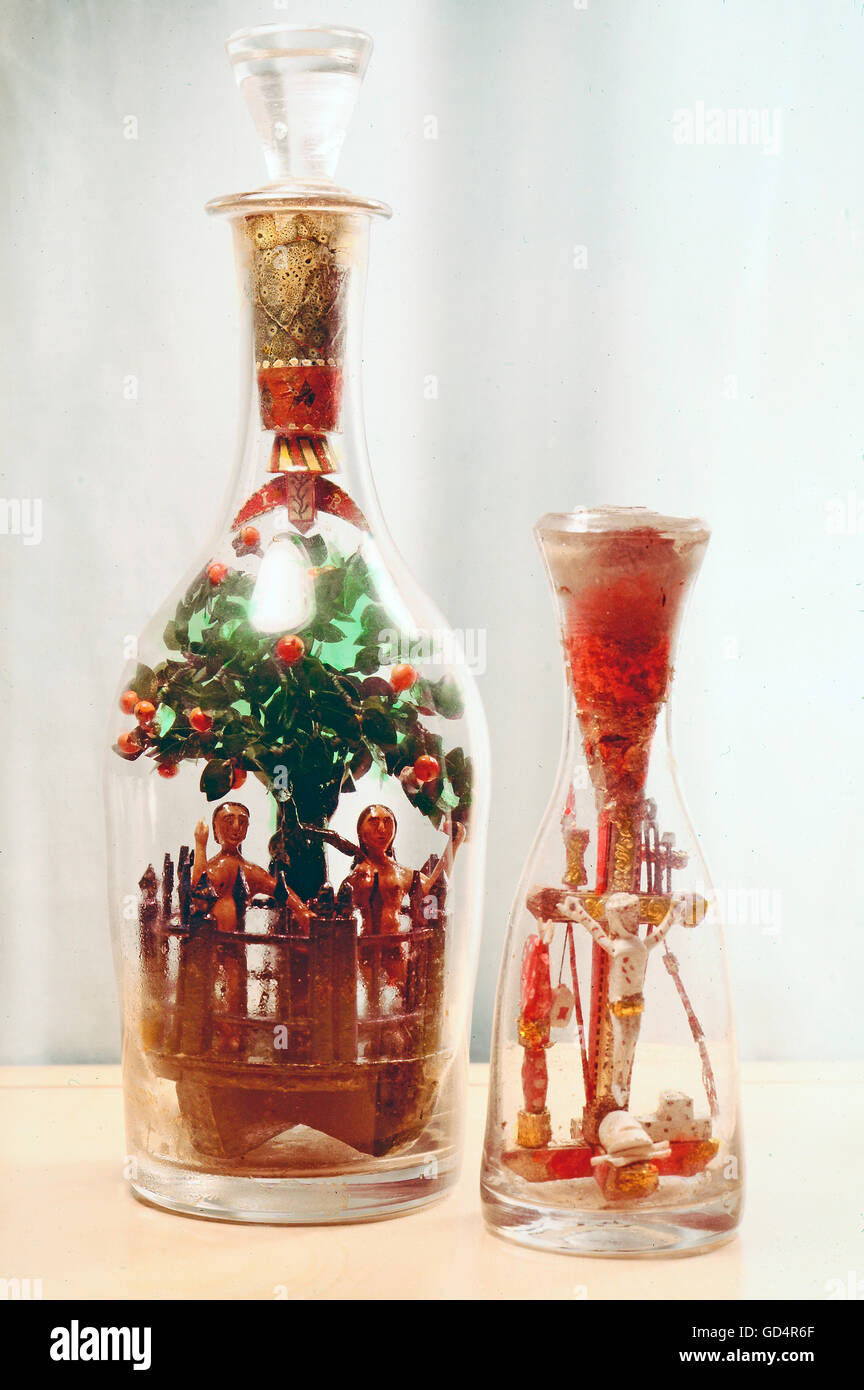 fine arts, folk art, impossible bottles with the Fall of Man and Crucifixion, glass, Switzerland, 19th century, - Stock Image