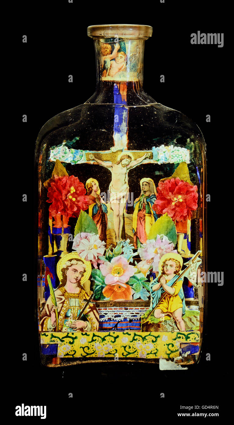 fine arts, folk art, impossible bottle with crucifixion, glass, paper, Black Forest, 19th century, private collection, - Stock Image