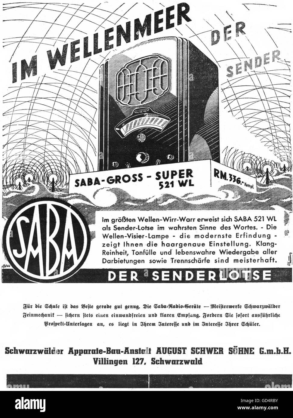 advertising, radio, Saba 521 WL, Schwarzwälder-Apparate-Bau-Anstalt, August Schwer sons private limited corporation, - Stock Image