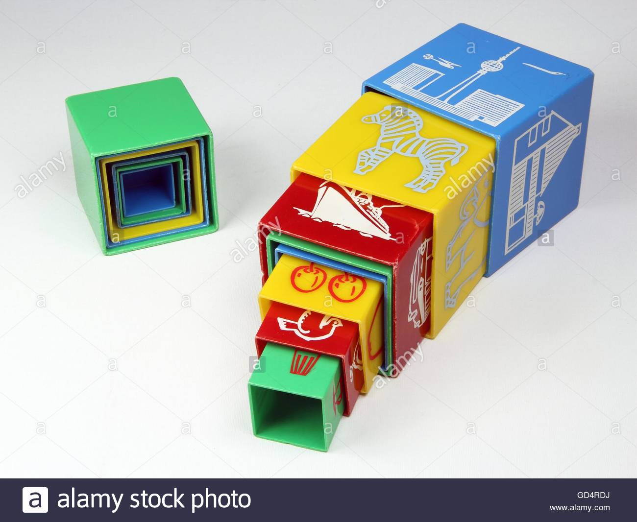 toys, plugin cubes for infants with synthetic material, design: probable design by factory, made by: VEB Plaho Steinach, - Stock Image