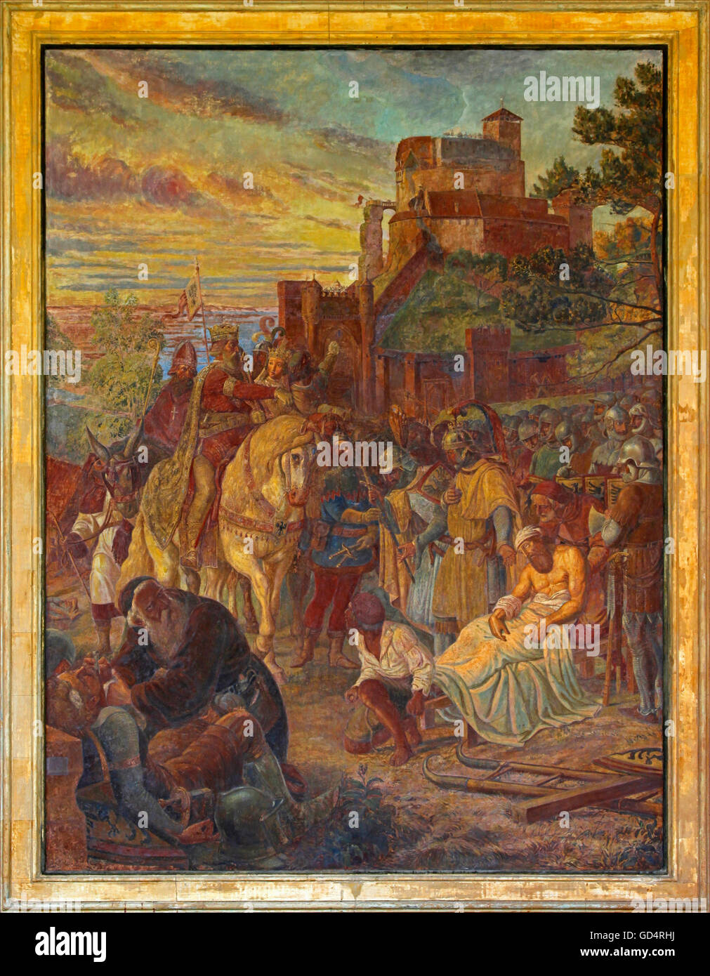 fine arts, wall paintings, painting 'Alt-Eberstein', knights festival with King Otto I during siege of Alt - Stock Image