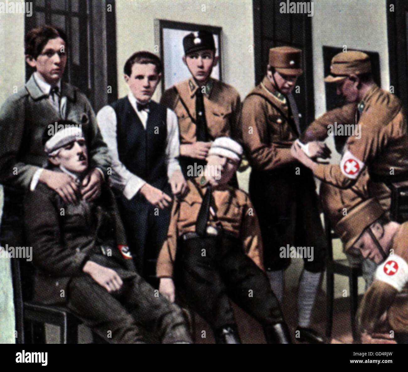 Nazism / National Socialism, organisations, Sturmabteilung (SA), SA-Men injured in a street fighting, 1932, coloured - Stock Image