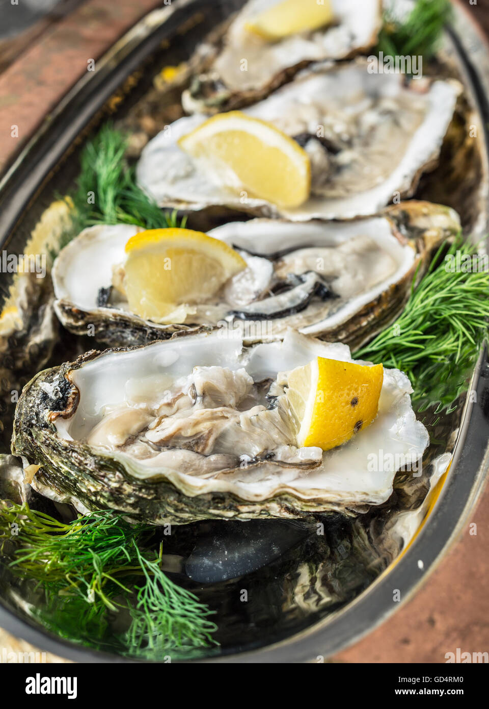 Opened oysters with piece of lemon on the cooper tray. - Stock Image
