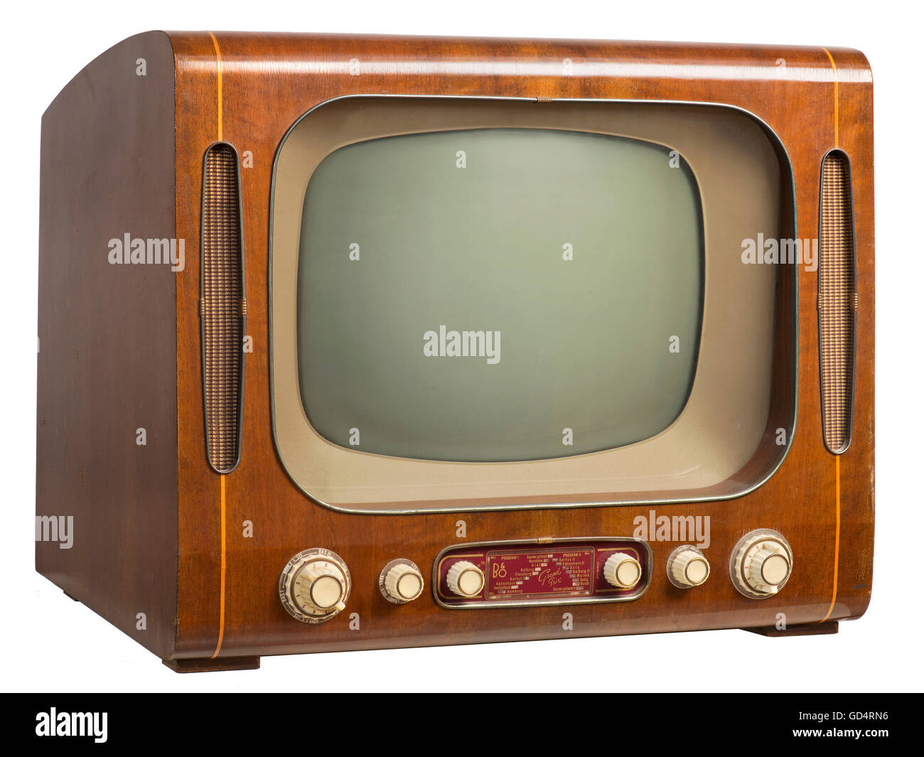 broadcast, television, Bang & Olufsen, Grand Prix 513, with integrated radio, Denmark, 1957, combinated device, - Stock Image