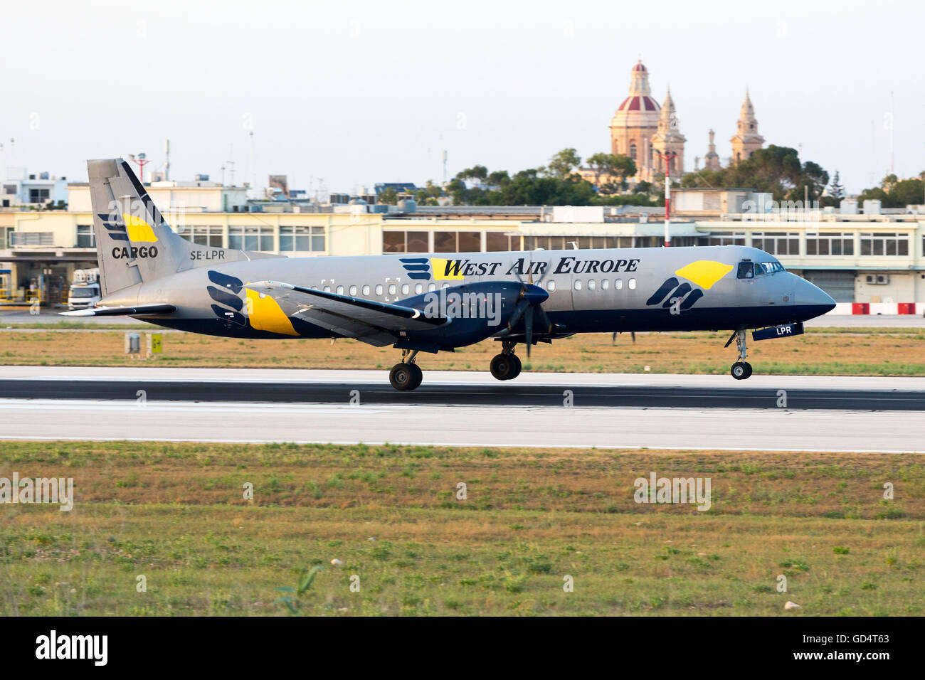 West Air Sweden British Aerospace ATP [SE-LPR] returning back to Malta after a few minutes due to technical problems. - Stock Image
