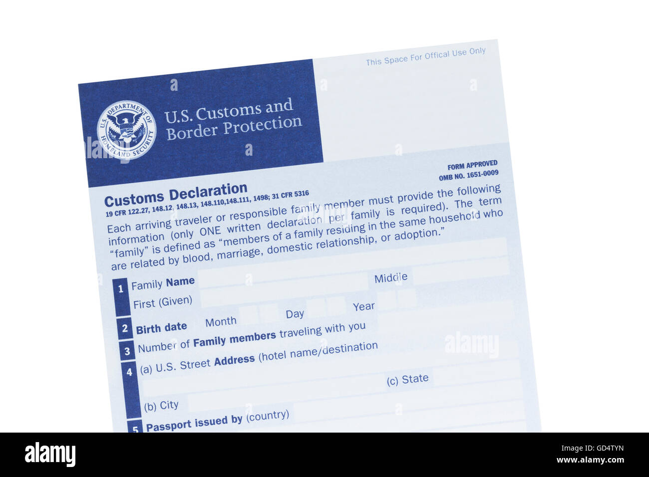Customs declaration form stock photos customs declaration form us customs declaration form stock image thecheapjerseys Image collections