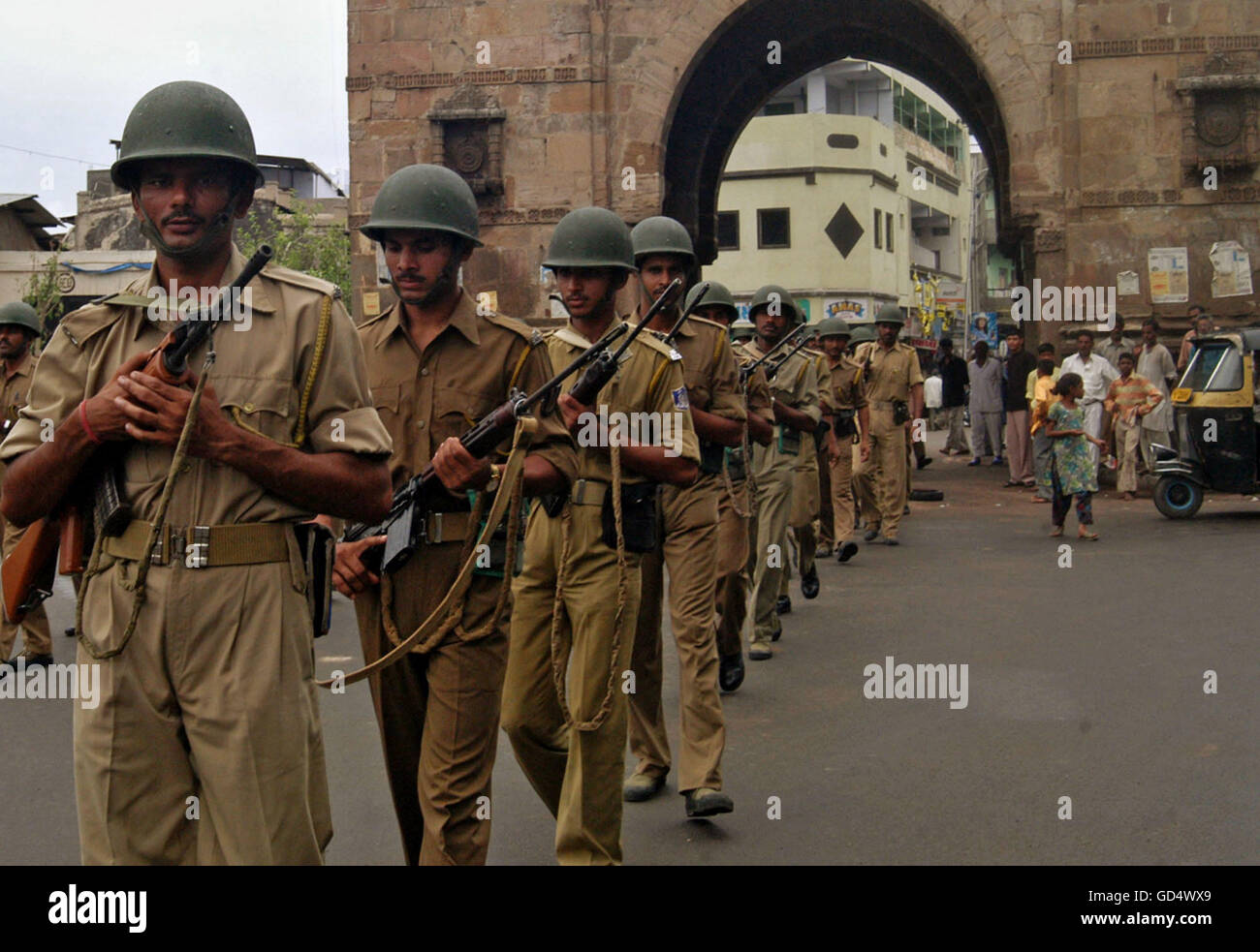 Police Force march - Stock Image